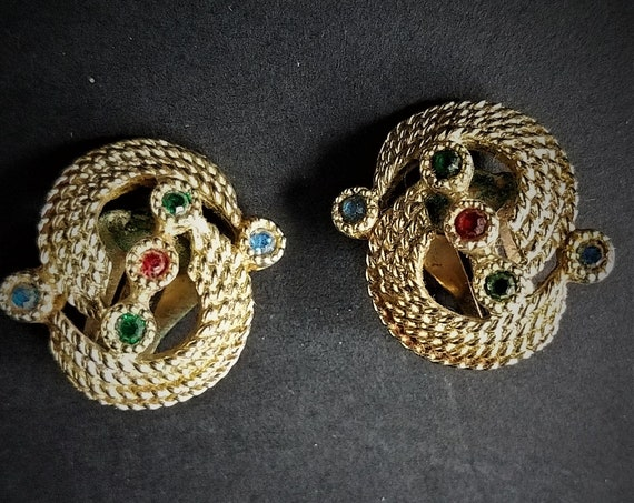 50s Sara Coventry Clip On Bejeweled Earrings