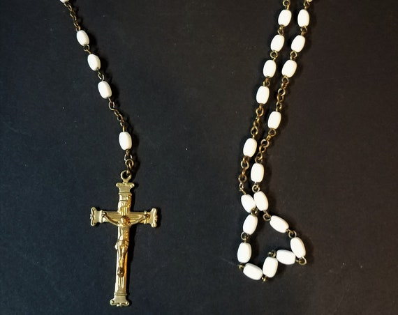 Vintage Rosary with Brass Cross