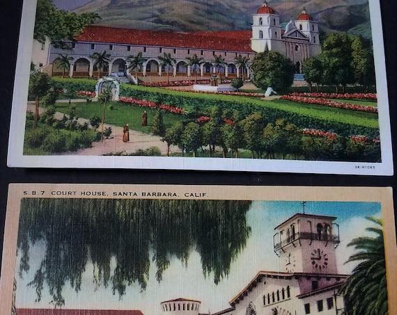 Pair of vintage Santa Barbara Postcards