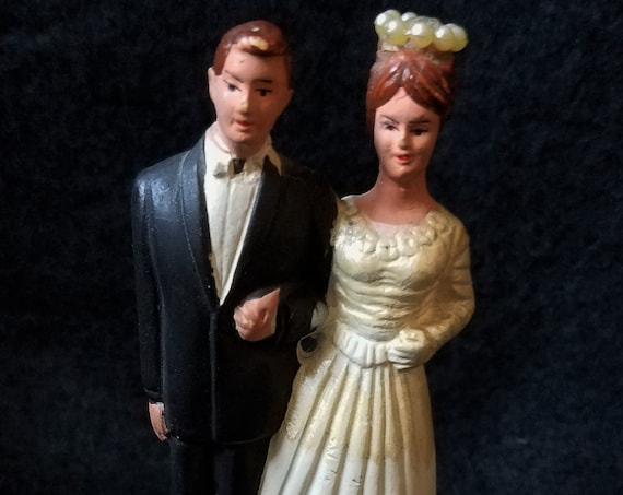 1960s Chalkware Wedding Cake Topper