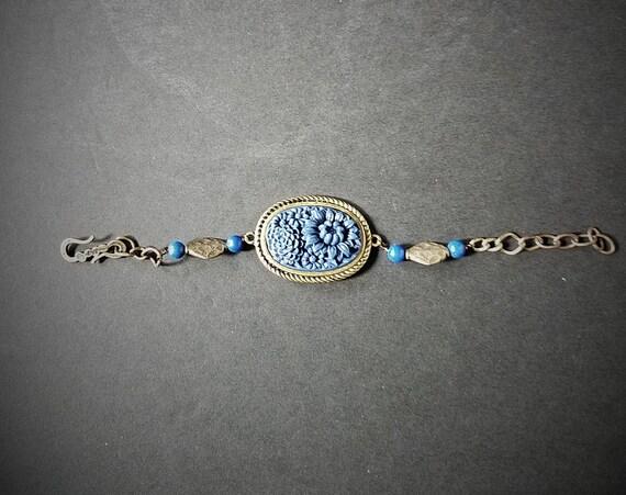 Royal Blue and Brass Bracelet