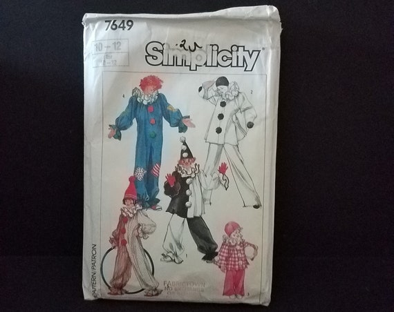 Simplicity 7649 Clown Pattern 1986