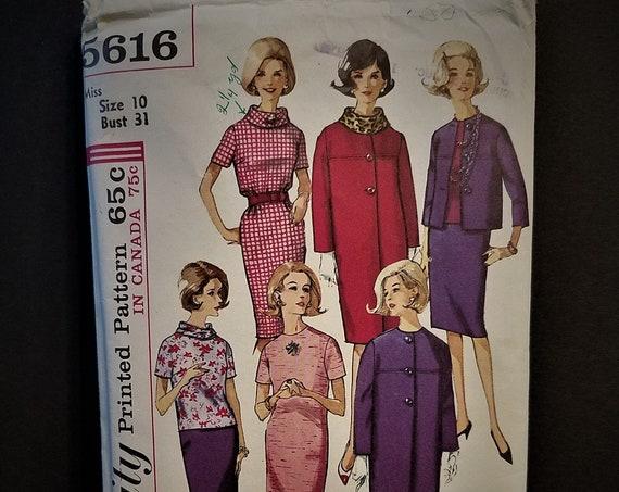 1964 Simplicity 5616 Dress, Coat, Jacket Pattern
