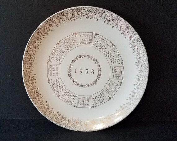 Calendar Plate 1958