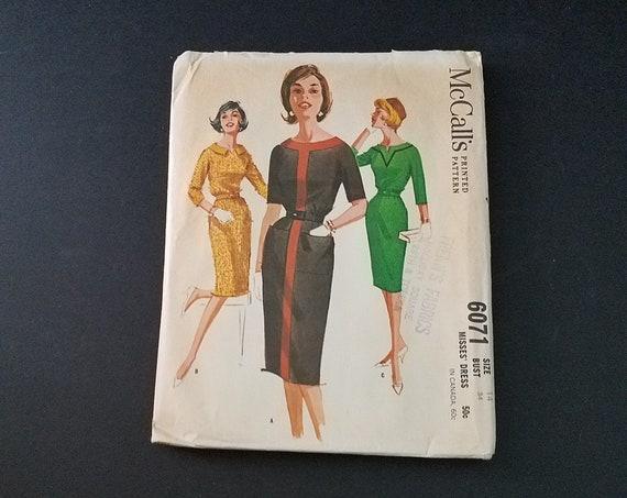 1961 McCalls 6071 Dress Pattern