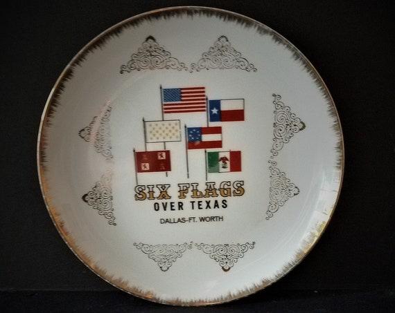 1960s Six Flags Over Texas Souvenir Plate