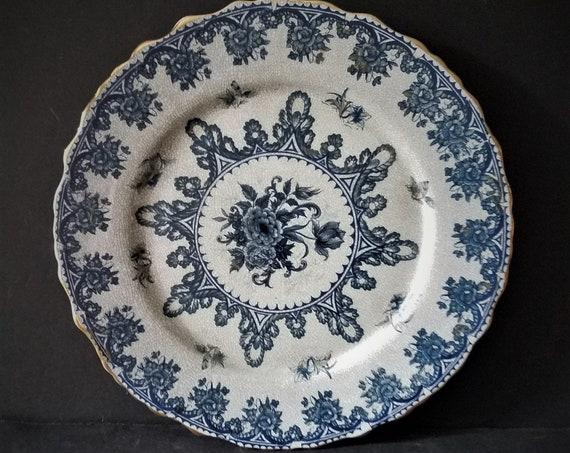 Crazed Antique Ironstone Plate