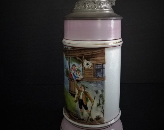 Antique Lithopane German Stein