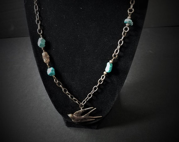Brass Swallow and Turquoise Necklace