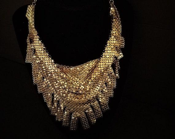 Whiting Davis Gold Mesh Bib Necklace