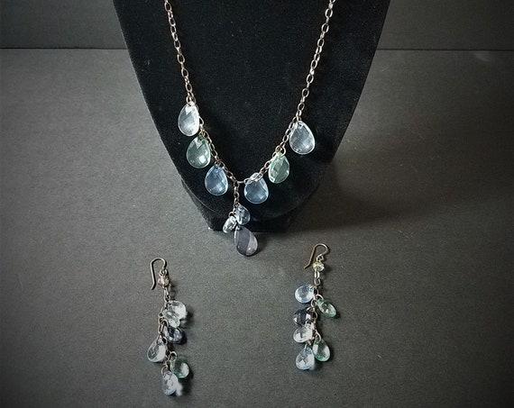 Sparkling Water OOAK Necklace & Earrings