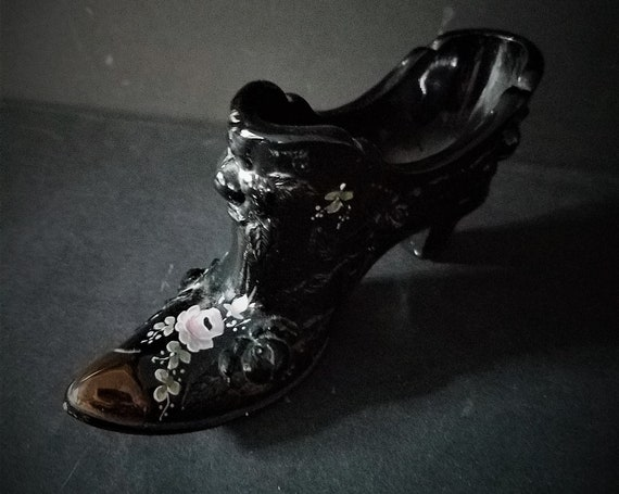 Fenton Hand Painted Glass Boot