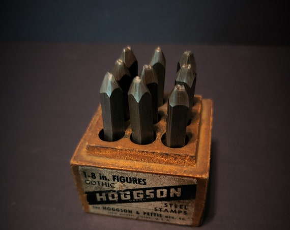 """Antique Hoggson and Pettis Steel Stamps 1/4"""" x 2 5/8"""""""