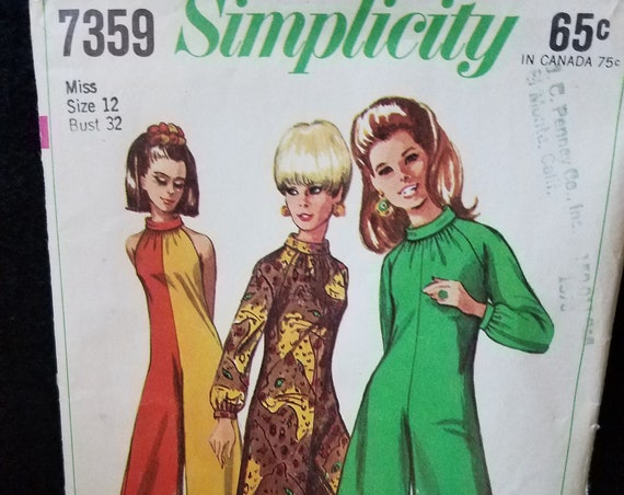 Womans' Dress1967 Simplicity Pattern 7359