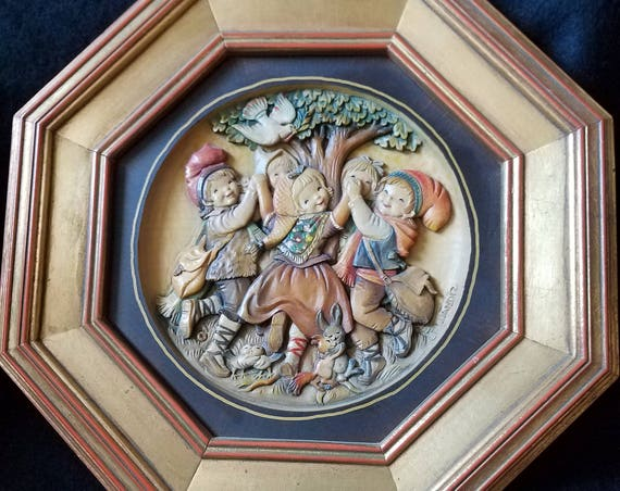 Anri Italy Dancing Children in Spring Wood Carving Picture