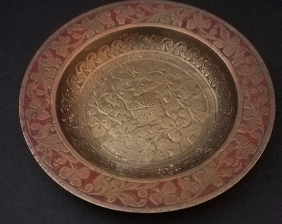 Brass Etched Floral Trinket Dish Made in India 60s