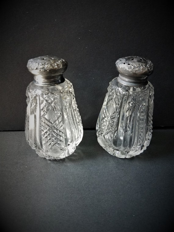 Lead Crystal and Silver Salt and Pepper Shakers