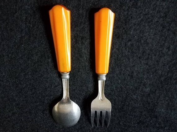 Bakelite Childs Spoon and Fork
