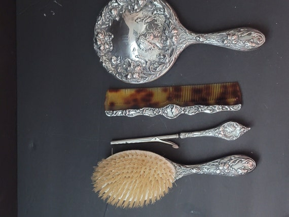 Sterling Silver Brush Mirror Comb and Curling Iron Set