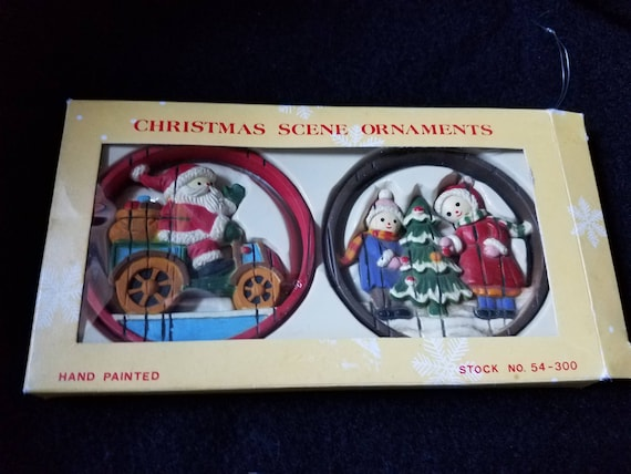 Handpainted Wooden Vintage Christmas Ornaments