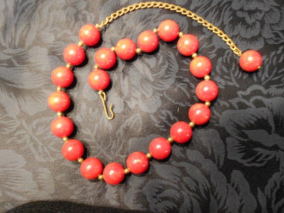 Necklace/Vintage/ Red Glass/ Bead
