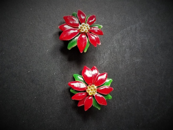 Poinsettia Clip on Earrings