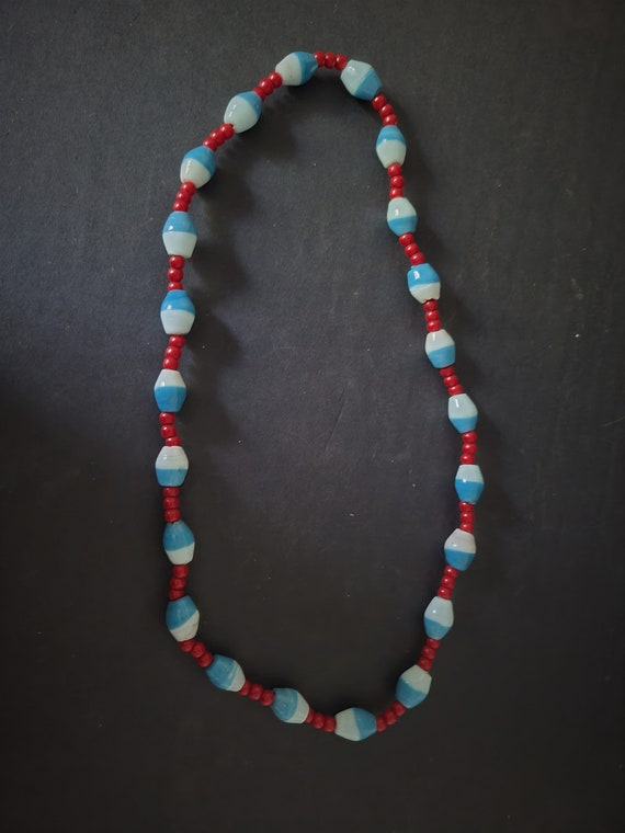 Vintage Red, White and Blue Necklace