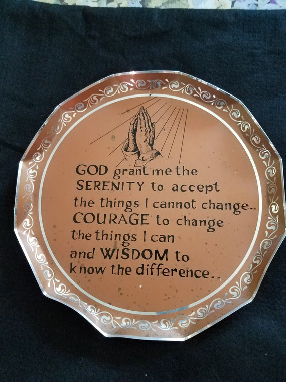 Mid century Serenity Prayer Metal Tray