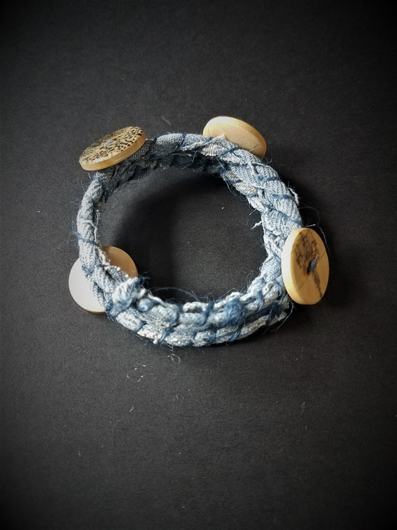Denim Memory Wire Bracelet with Buttons