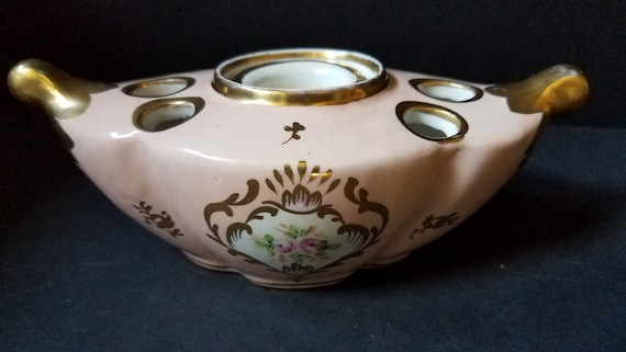 Limoges Hand Painted Inkwell and Pen Holder