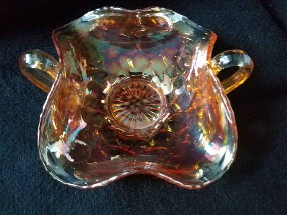 Amber Carnival Glass Ruffled Edge Candy Dish