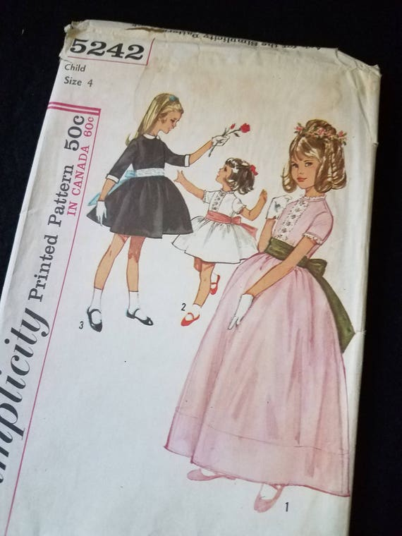 Fancy Vintage Girls Dress Simplicity Pattern 5242