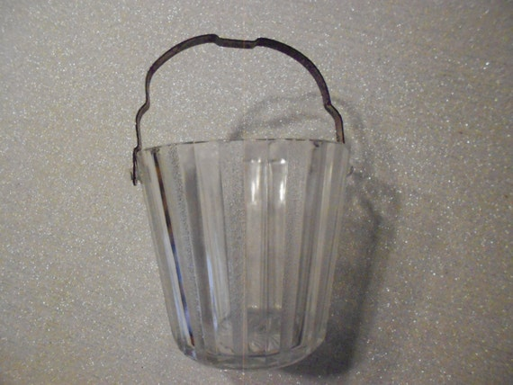 Mid Century Paneled Glass Ice Bucket