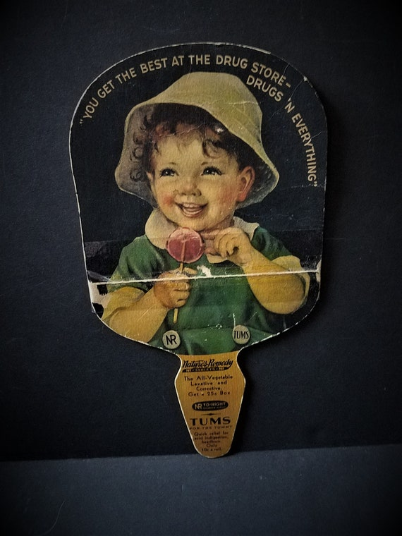 1930s Tums Drug Store Giveaway Fan