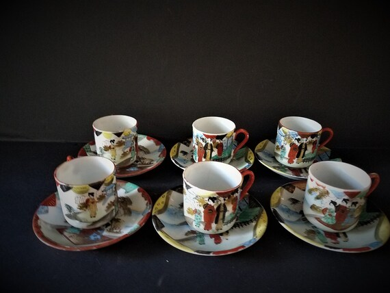 12 Piece Satsuma Demitasse Cups and Saucers