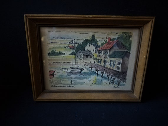 Vintage IBFCo Fisherman's Wharf Print Signed Ceri