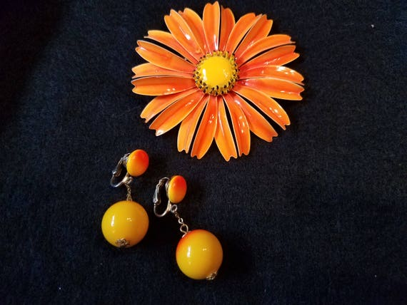 Sunflower Vintage Earrings and Brooch