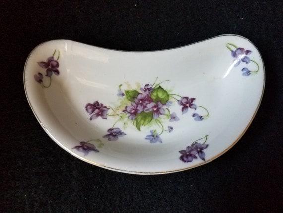 Lefton China Vintage Violets Trinket Dish