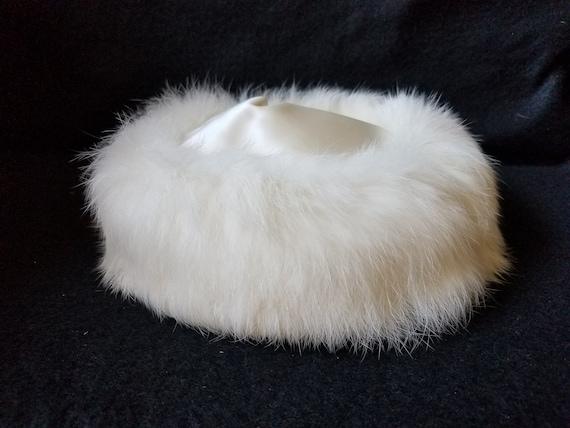 Vintage Rabbit Fur and Satin White Hat