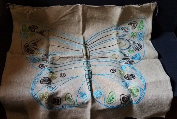 1960s Butterfly Embroidered Pillow Cover