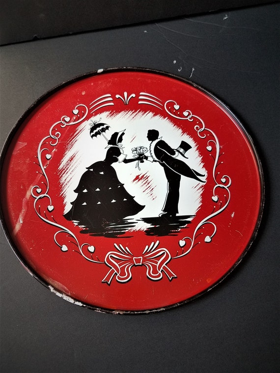 Red Silhouette Metal Tray