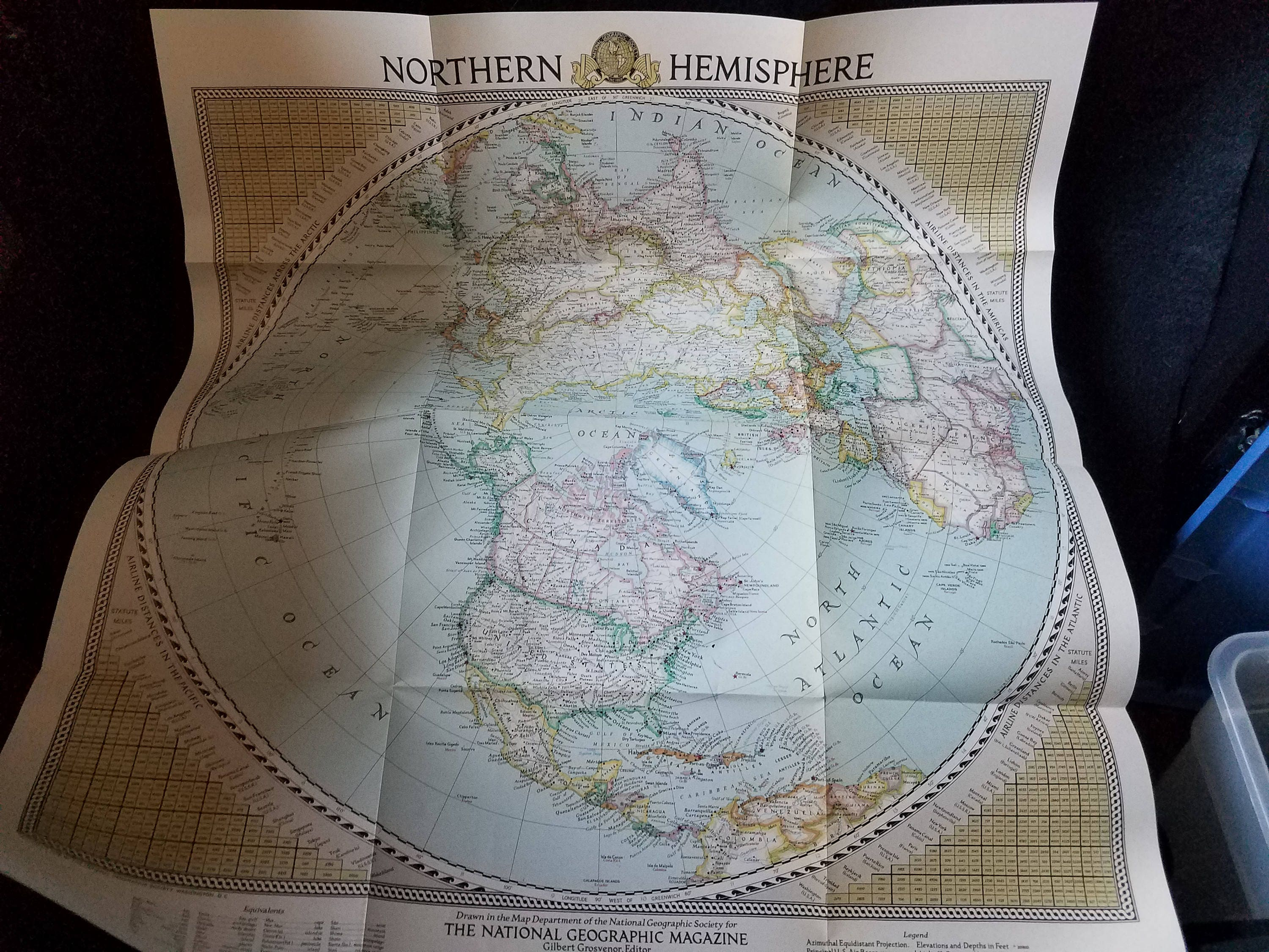 1946 National Geographic Map of the Northern Hemisphere | Etsy