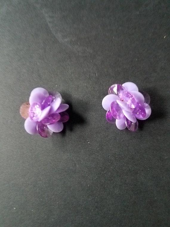 Flowery Purple Vintage Earrings