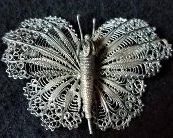 Antique Filigree Butterfly Brooch