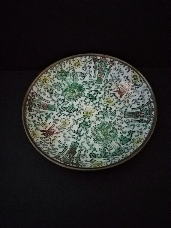 Chinese Porcelain Bowl Encased in Pewter