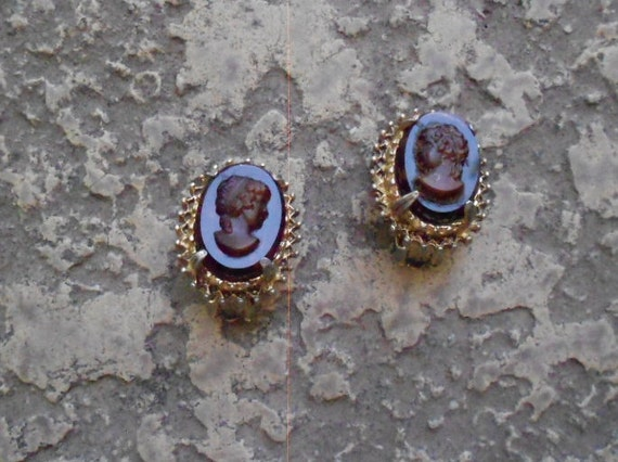 Florenza Co/ Tortoise Shell/ Cameo/ Earrings/ Vintage Jewelry