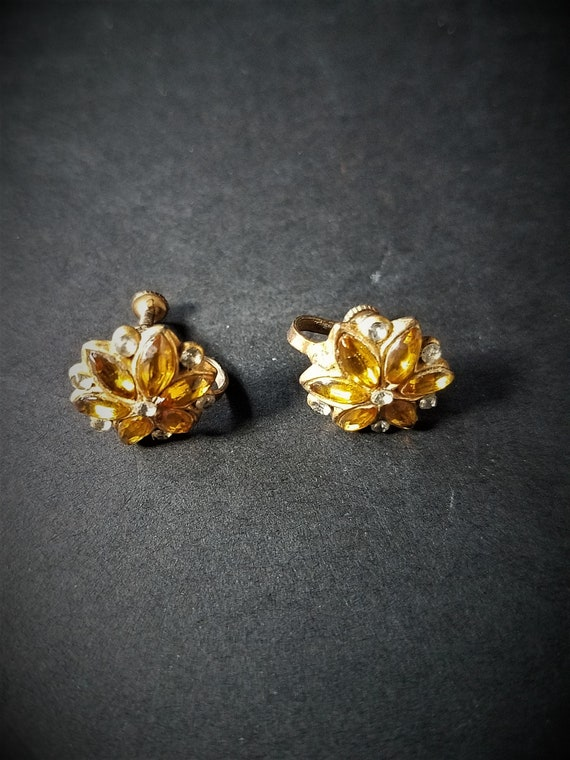 1950s Brass Screw On Earrings