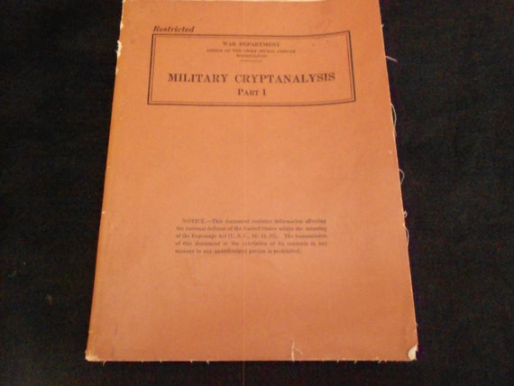 1942 Restricted Military Cryptanlysis Part 1