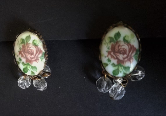 1950s Brass and Ceramic Earrings