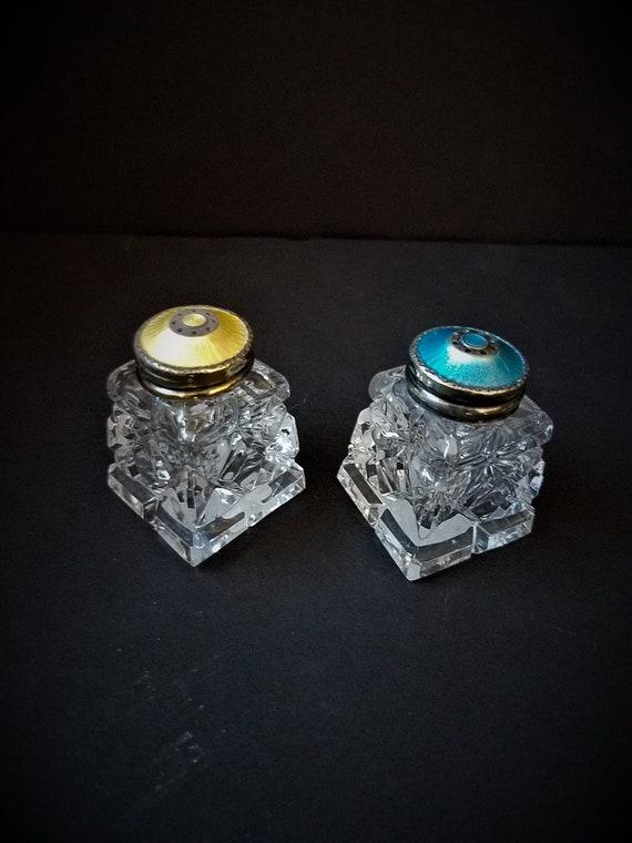 Sterling & Crystal French Enamel Salt and Pepper